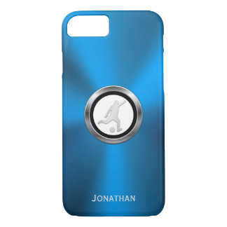 Blue Metallic Soccer Player with Your Monogram iPhone 8/7 Case