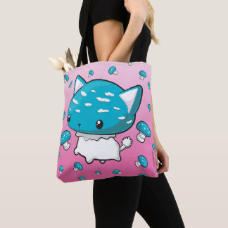 Blue Mewshroom Kitty Cat Mushroom Bag