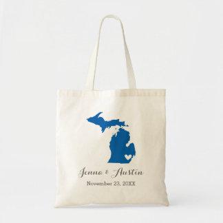 Blue Michigan Wedding Welcome Tote Bag