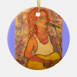 blue microphone songstress christmas ornament
