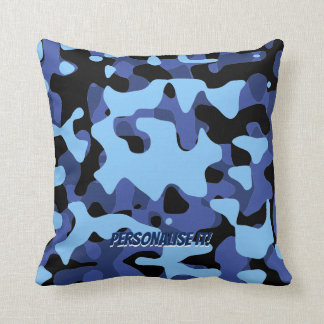 Blue Military Camouflage Cushion