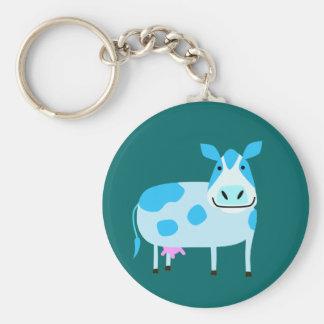 Blue Milk Cow Keychain