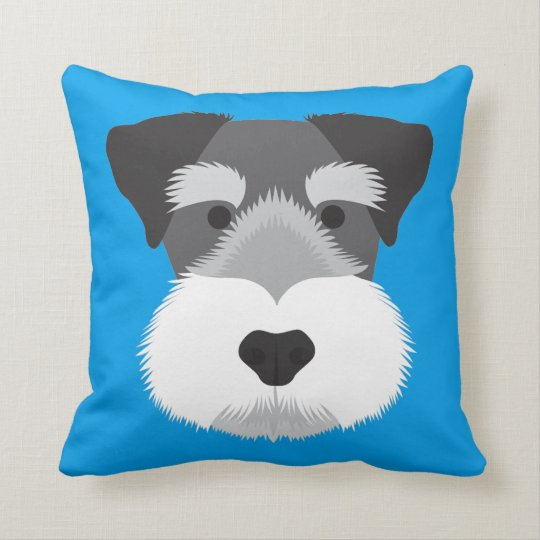 Blue Miniature Schnauzer Cushion