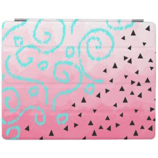 blue mint black geometric pattern pink brushstroke iPad cover