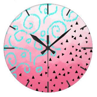 blue mint black geometric pattern pink brushstroke large clock
