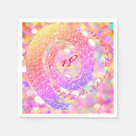 Blue Mint Peach Glitter Rainbow Birthday Bridal Paper