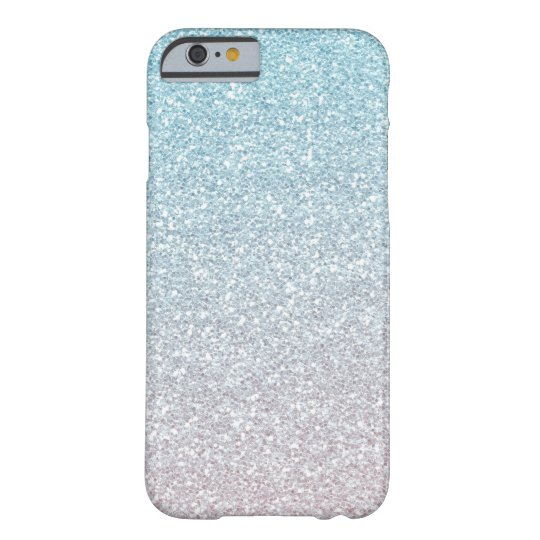 Blue Mist Faux Glitter Ombre Barely There iPhone