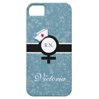Blue Mist+Female Sign+Nurse Cap/Name Case For The iPhone 5