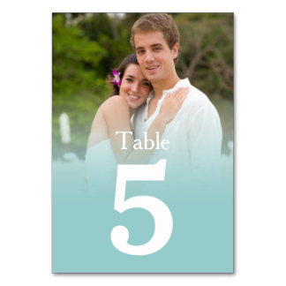 Blue Mist Wedding Photo Table Number Cards