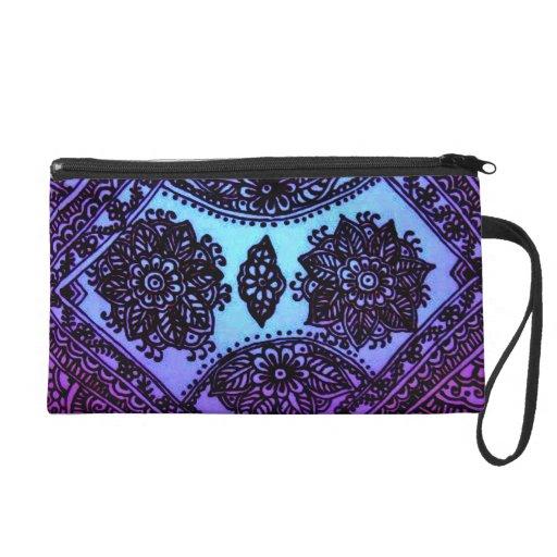 Blue mix mehndi wristlet purse