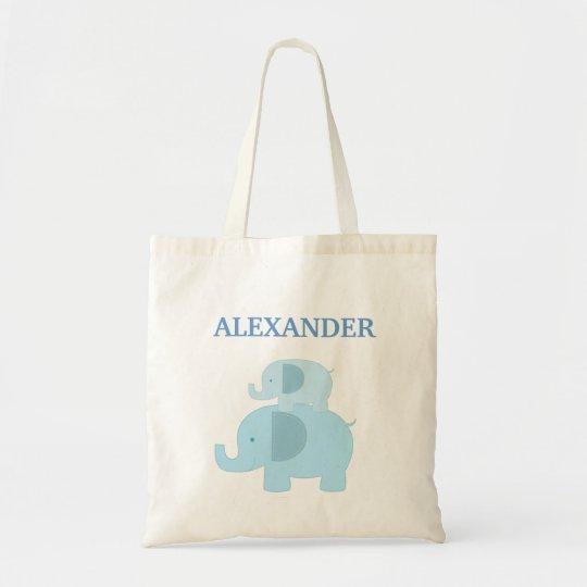 Blue Mod Elephants Diaper Tote Bag - add a NAME!