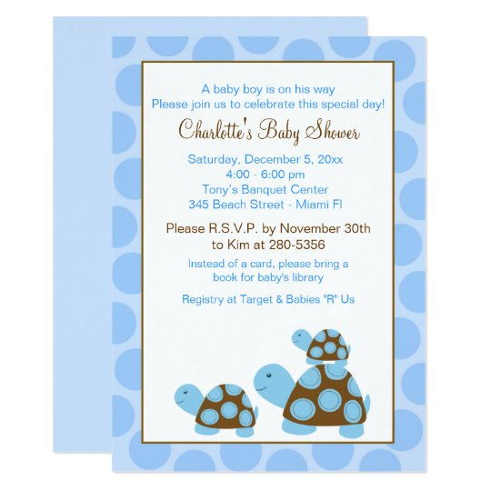 Blue Mod Turtles (Dot) Boy Baby Shower Invitation