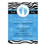 "Blue Mod Zebra Print Baby Shower Invitations 5"" X 7"" Invitation Card"