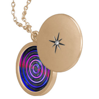 Blue,modern,abstract,cyber,circle,trendy,universe, Round Locket Necklace