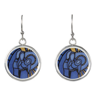 Blue Modern Christmas Holy Family Earrings