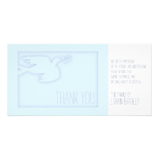 Blue Modern Dove - Custom Sympathy Thank You Card Picture Card