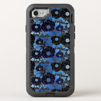 Blue Modern Flowers Pattern OtterBox Defender iPhone 7 Case