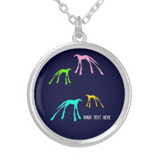 Blue Modern Horses Neon Silver Plated Necklace