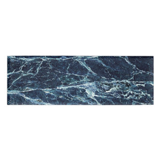 Blue modern marble pattern name tag