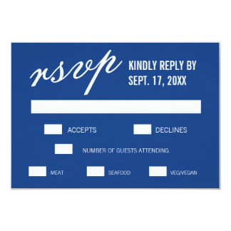 Blue Modern Minimalist Wedding RSVP Cards 9 Cm X 13 Cm Invitation Card