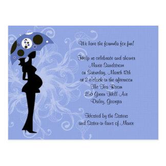 Blue Modern Mum with Umbrella Postcard