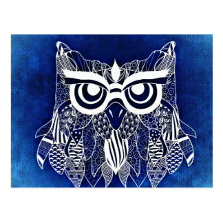 Blue Modern Owl Postcard
