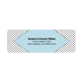 Blue Modern Polka Dots Wedding Return Address Label