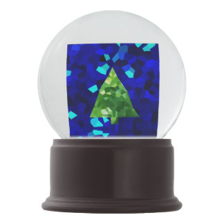 Blue Modern Stained Glass Holiday Christmas Tree Snow Globe
