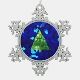 Blue Modern Stained Glass Holiday Christmas Tree Snowflake Pewter Christmas Ornament