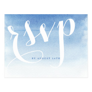 Blue modern watercolor nautical beach wedding rsvp postcard