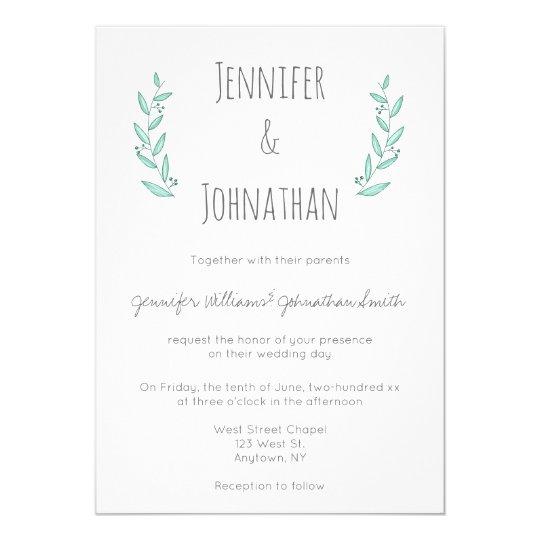 Blue modern wreath wedding invitations