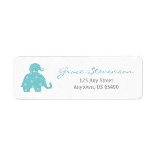 Blue Mom and Baby Elephant Labels