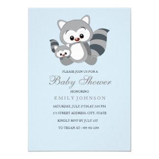Blue Mom & Bub Racoon Boy Baby Shower Invitation