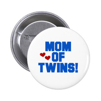 Blue Mom of Twins Pinback Buttons