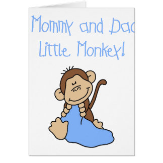 Blue Mommy and Daddy's Monkey Greeting Card