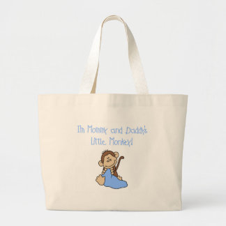 Blue Mommy and Daddy's Monkey Canvas Bag