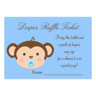 Blue Monkey Diaper Raffle Tickets Business Card Template