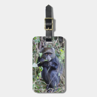 Blue Monkey Eating Luggage Tag