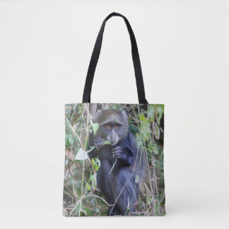 Blue Monkey Eating Tote Bag