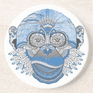 Blue Monkey Face with Pattern and Feathers Coaster