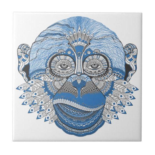 Blue Monkey Face with Pattern and Feathers Small Square Tile