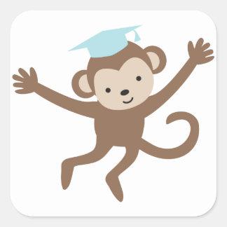 Blue Monkey Graduation Square Sticker