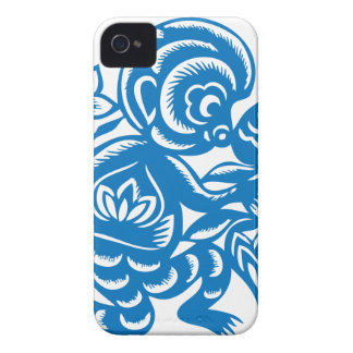 Blue Monkey Paper Cutting iPhone 4 Cases