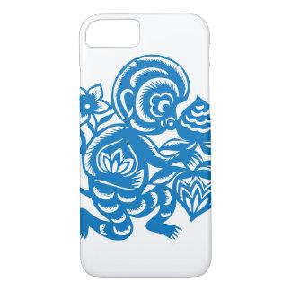 Blue Monkey Paper Cutting iPhone 7 Case