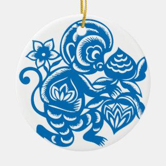 Blue Monkey Paper Cutting Round Ceramic Decoration