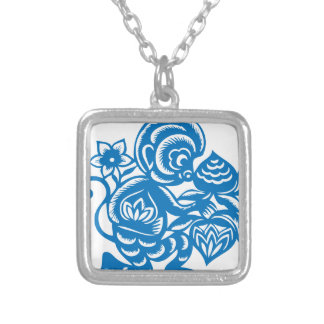 Blue Monkey Paper Cutting Silver Plated Necklace
