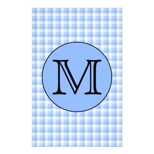 Blue Monogram Check Pattern. Custom Letter. Custom Flyer