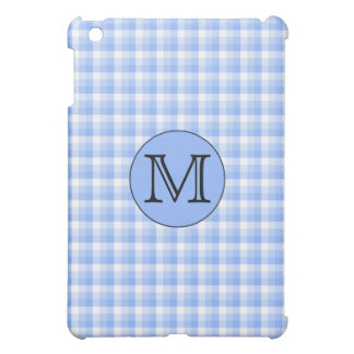 Blue Monogram Check Pern. Custom Letter. iPad Mini Case