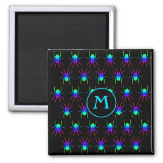 Blue monogram colorful spiders on black square magnet