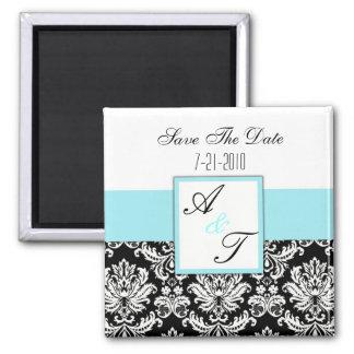 Blue Monogram Damask Wedding Magnet